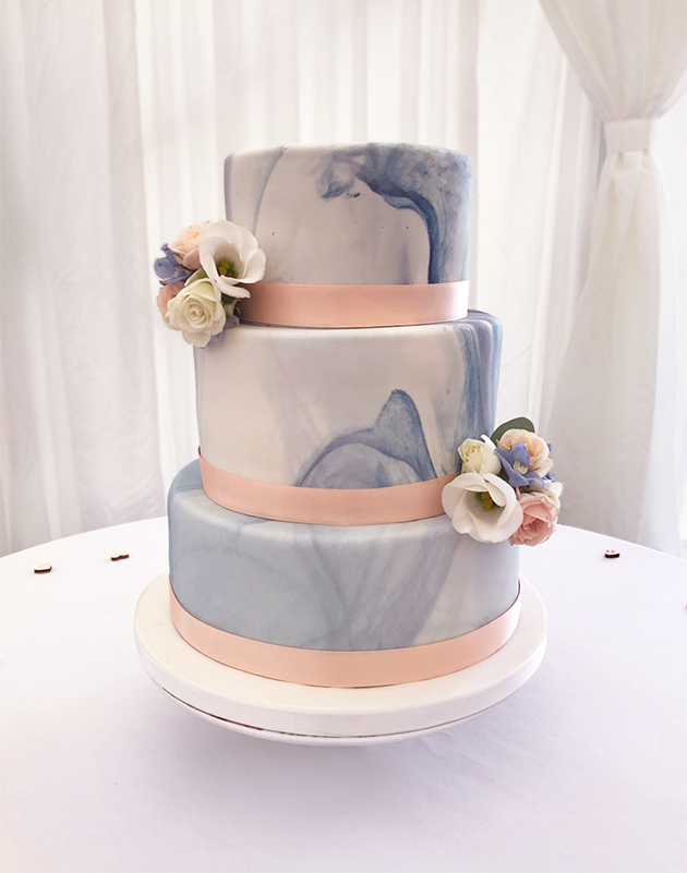 Blue Marble Effect Wedding Cake