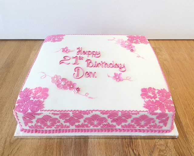 Fancy Pink 21st Cake