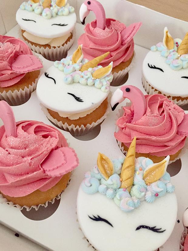 Flamingo and Unicorn Cupcakes