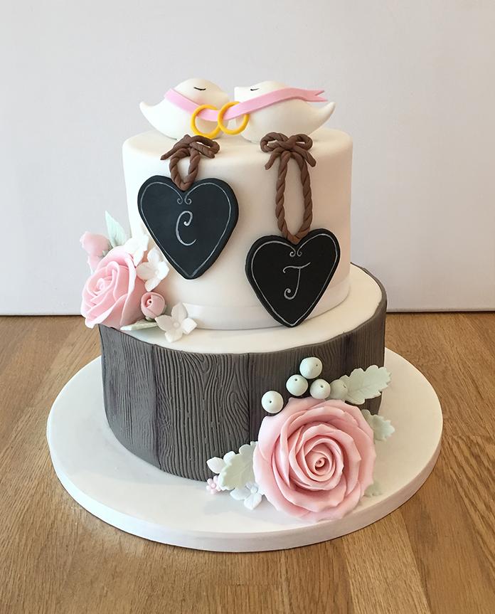 Wedding Cake with Chalkboard Plaques