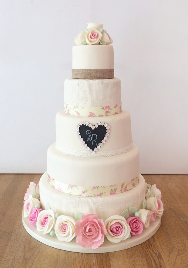 Wedding Cake with Vintage Floral and Wood Texture