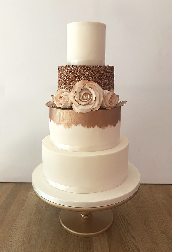 4 Tier Wedding Cake with Brushed Bronze