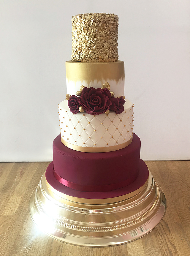 4 Tier Wedding Cake with Burgandy and Gold Details