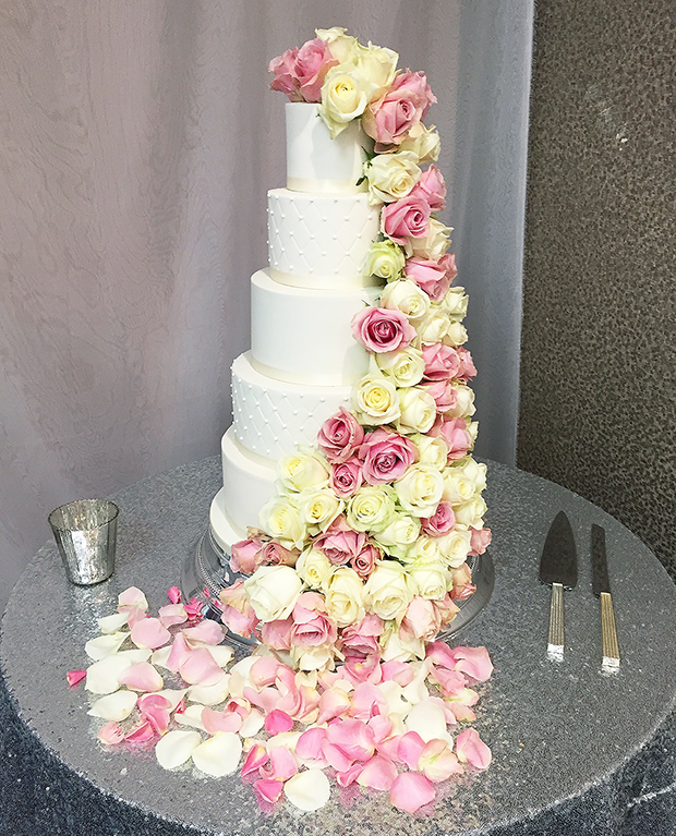 5 Tier Wedding Cake with Cascading Fresh Roses