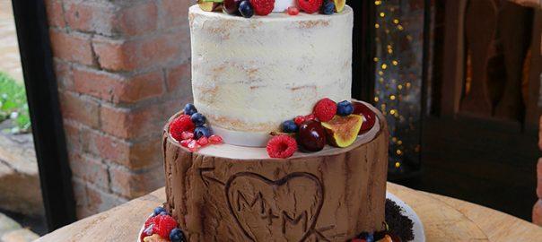 Semi Naked Wedding Cake with Wood Effect