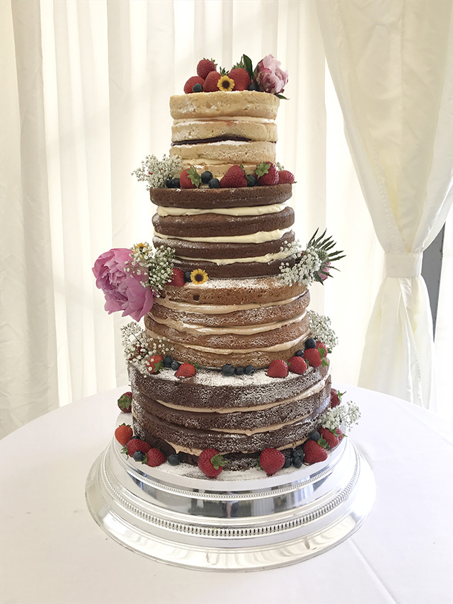 4 Tier Naked Wedding Cake with Summer Flowers