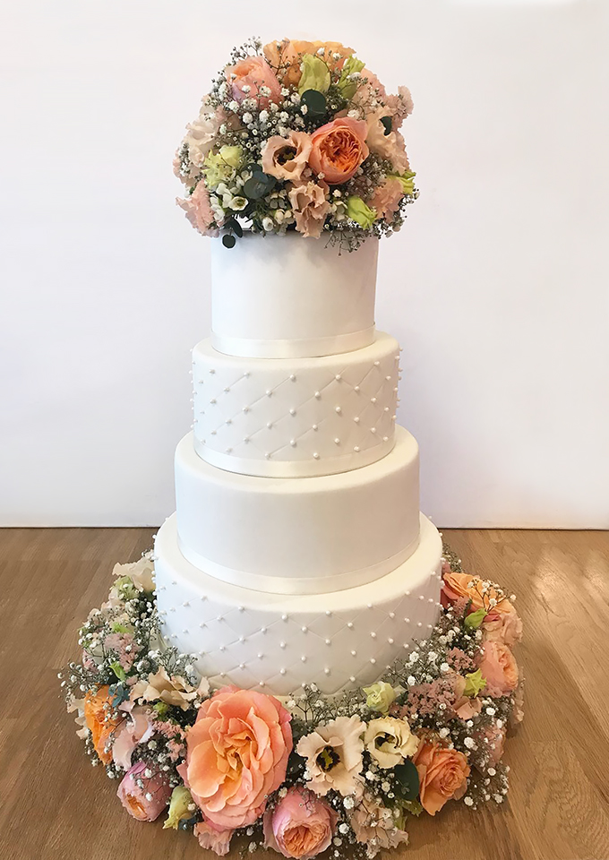 4 Tier Wedding with Peach and Green Flowers