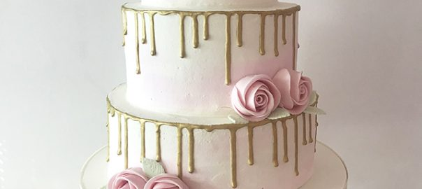 Gold Drippy Cake with Pale Pink Roses