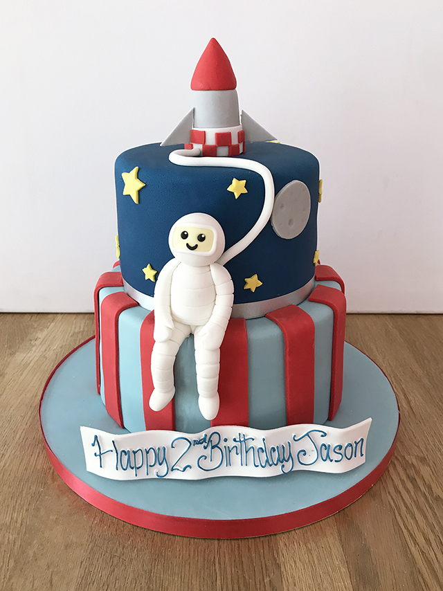 2 Tier Astronaut Space Birthday Cake
