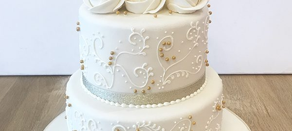 2 Tier Golden Wedding Anniversary Cake