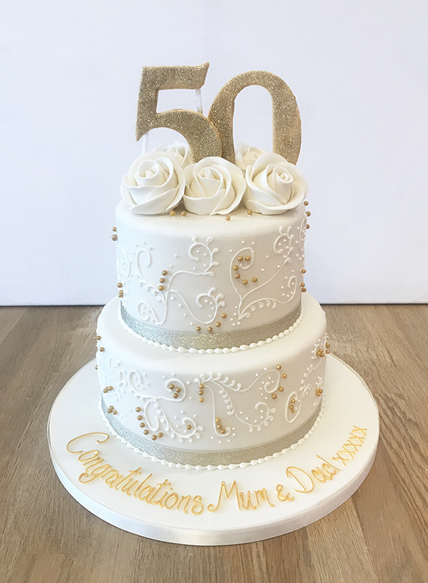 2 Tier Golden Wedding Anniversary Cake