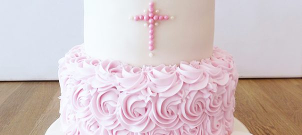 2 Tier Ruffle Christening Cake