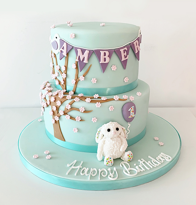 Bunny Rabbit and Blossom Tree Cake