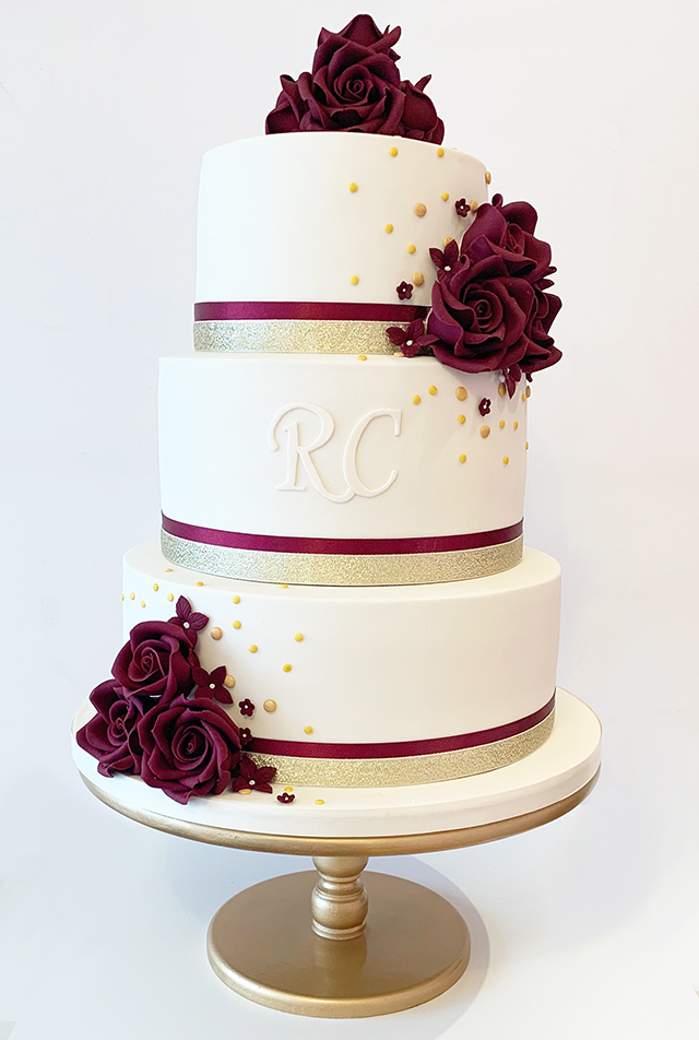 Burgandy Ivory and Gold Wedding Cake With Initials