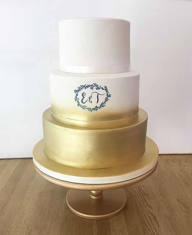 Gold Ombre Wedding Cake with Hand Painted Initials