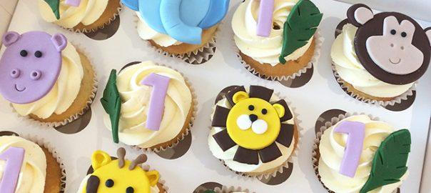 Jungle Animal 1st Birthday Cupcakes