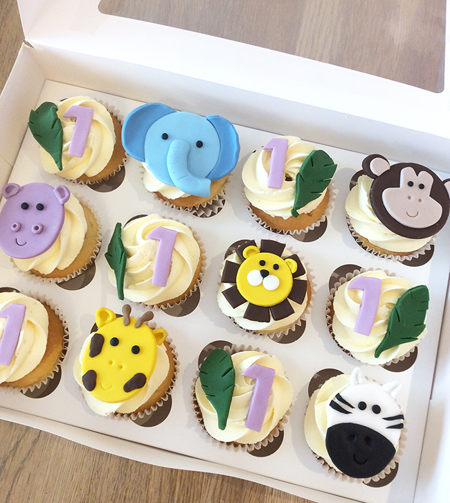 Marvelous Jungle Animal 1St Birthday Cupcakes The Cakery Leamington Spa Funny Birthday Cards Online Inifofree Goldxyz