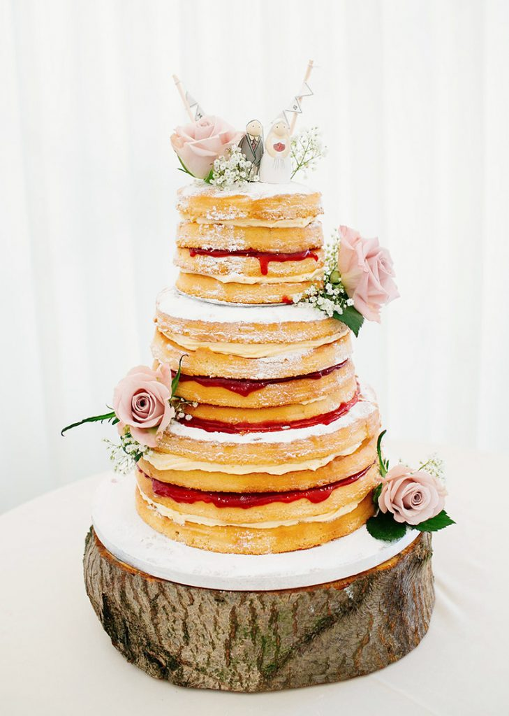 Naked Wedding Cake with Blush Pink Roses