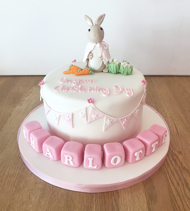Astonishing Peter Rabbit Pink Christening Cake The Cakery Leamington Spa Personalised Birthday Cards Epsylily Jamesorg