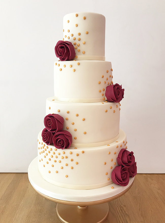 Wedding Cake with Gold Sequins and Berry Red Roses
