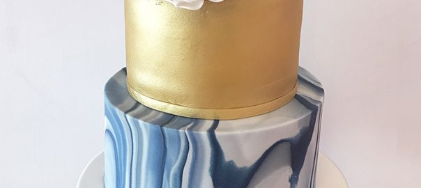 Wedding Cake with Royal Blue Marble Effect and Gold