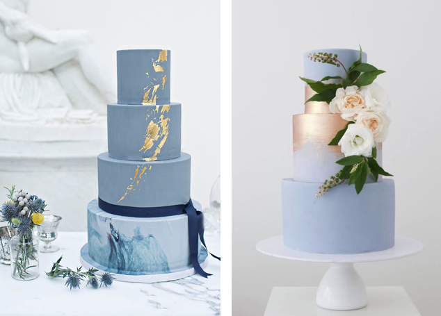 Blue wedding cakes with shiny gold foiling effect
