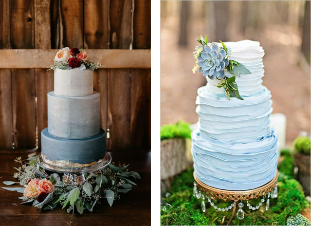 Rustic ombre wedding cake and blue ombre ruffle cake
