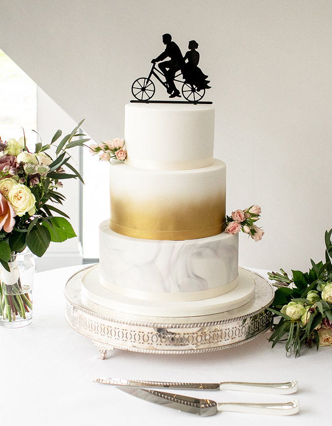 Wedding Cake with Bicycle Topper