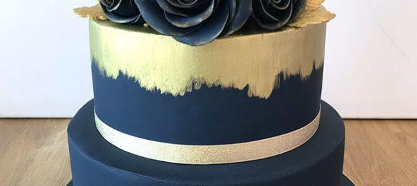 Navy and Gold Brushed Wedding Cake