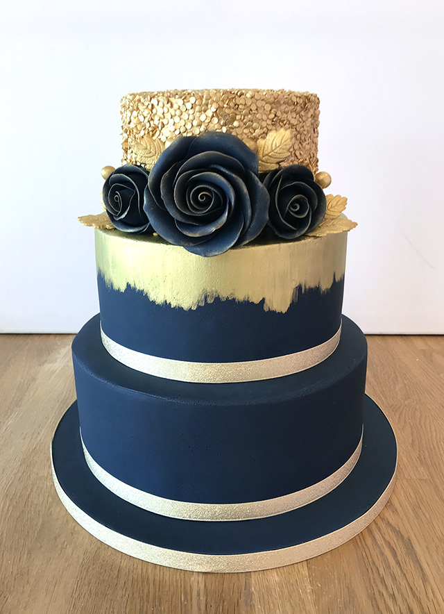 Navy and Gold Brushed Wedding Cake