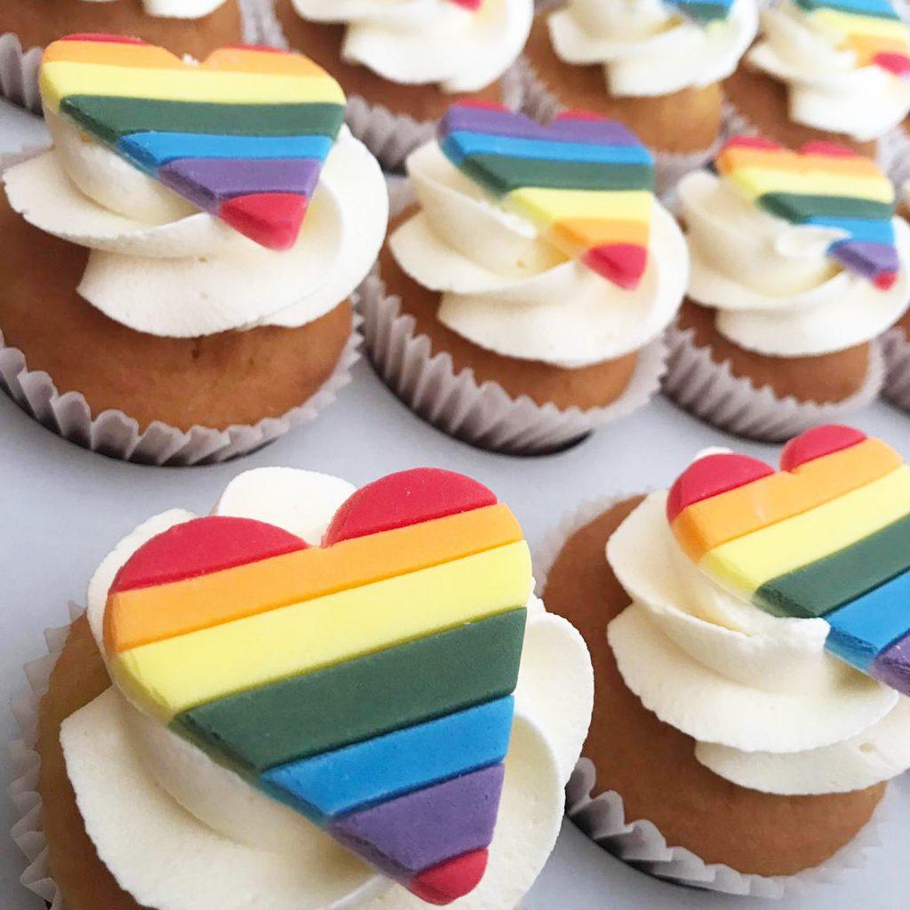 Rainbow Heart Cupcakes