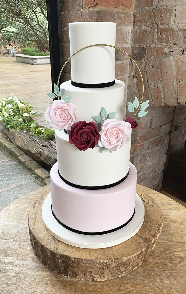 Simple Wedding Cake with Gold Hoop Feature