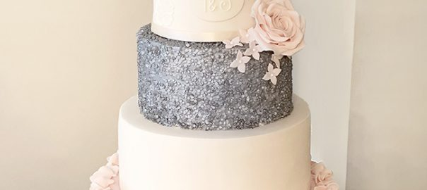 5 Tier Silver and Pink Wedding Cake