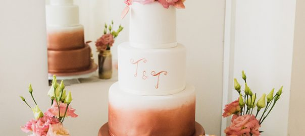 Bronze Ombre Wedding Cake with Lettering