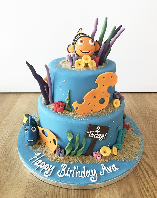 Astonishing Finding Nemo 2 Tier Birthday Cake The Cakery Leamington Spa Funny Birthday Cards Online Elaedamsfinfo