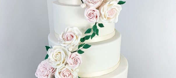 Ivory Wedding Cake with Sugarpaste Roses