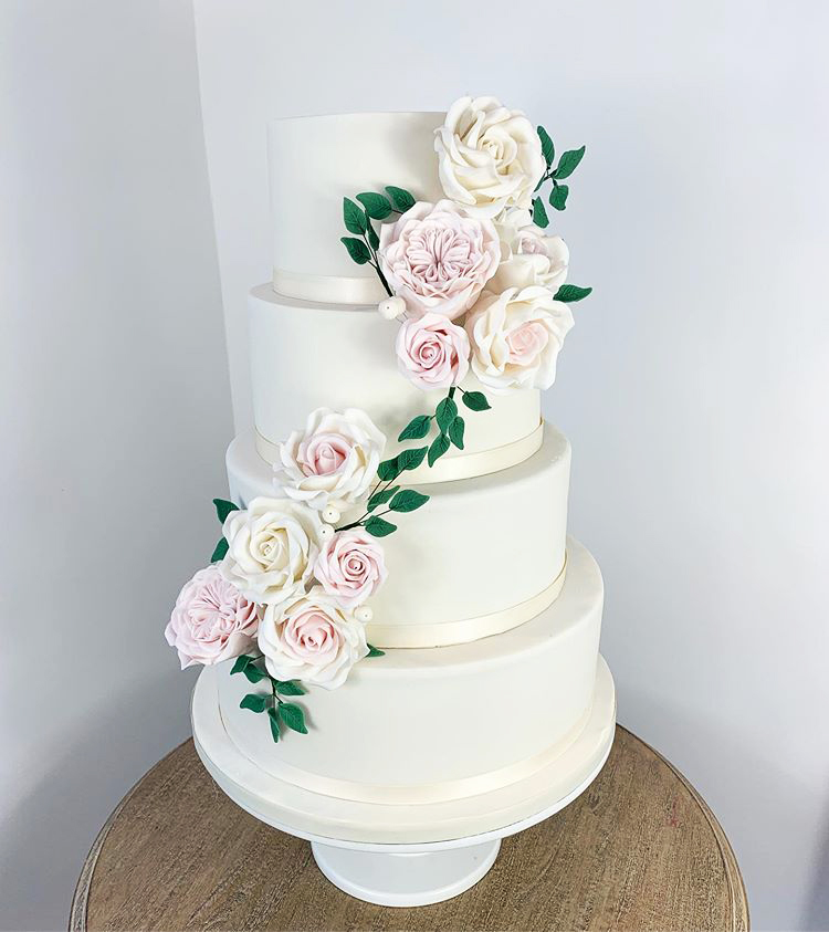 Ivory Wedding Cake with Sugarpaste Roses