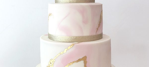 Pink Gold and Ivory Marble Wedding Cake