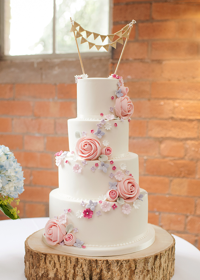 Floral Wedding Cake with Bunting