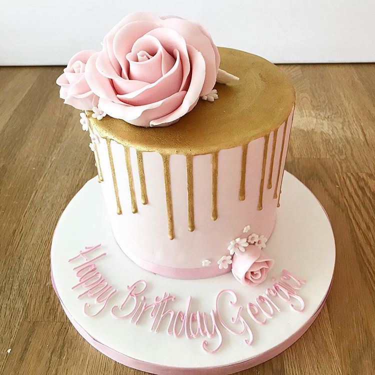 Gold and Pink Drippy Birthday Cake