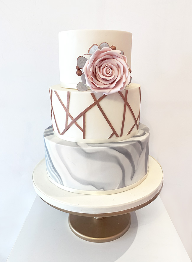 Grey Marble Wedding Cake with Bronze Geometric Lines