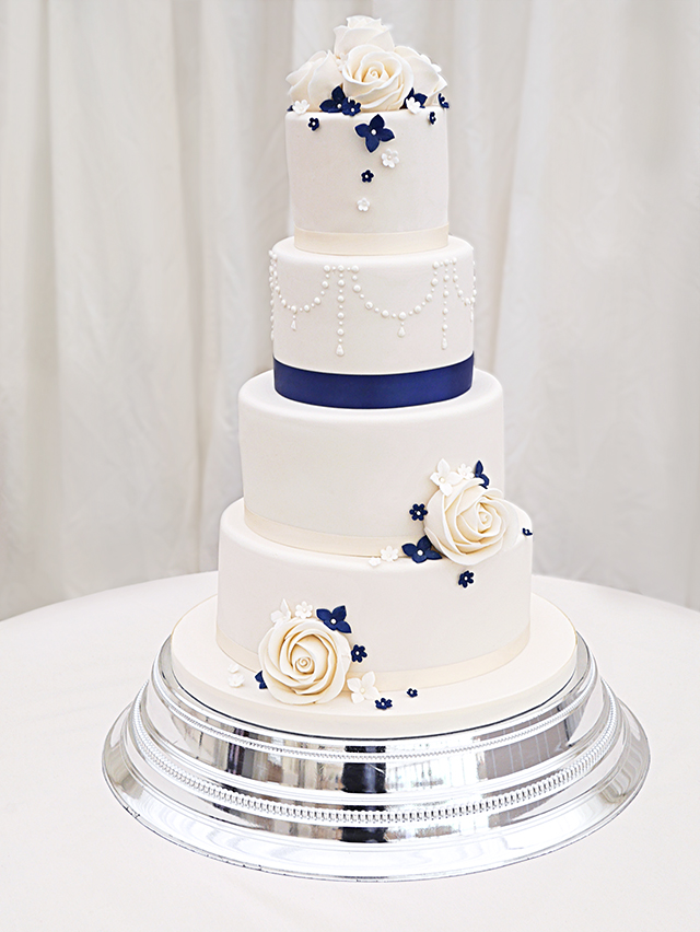 Ivory Wedding Cake with Navy Details
