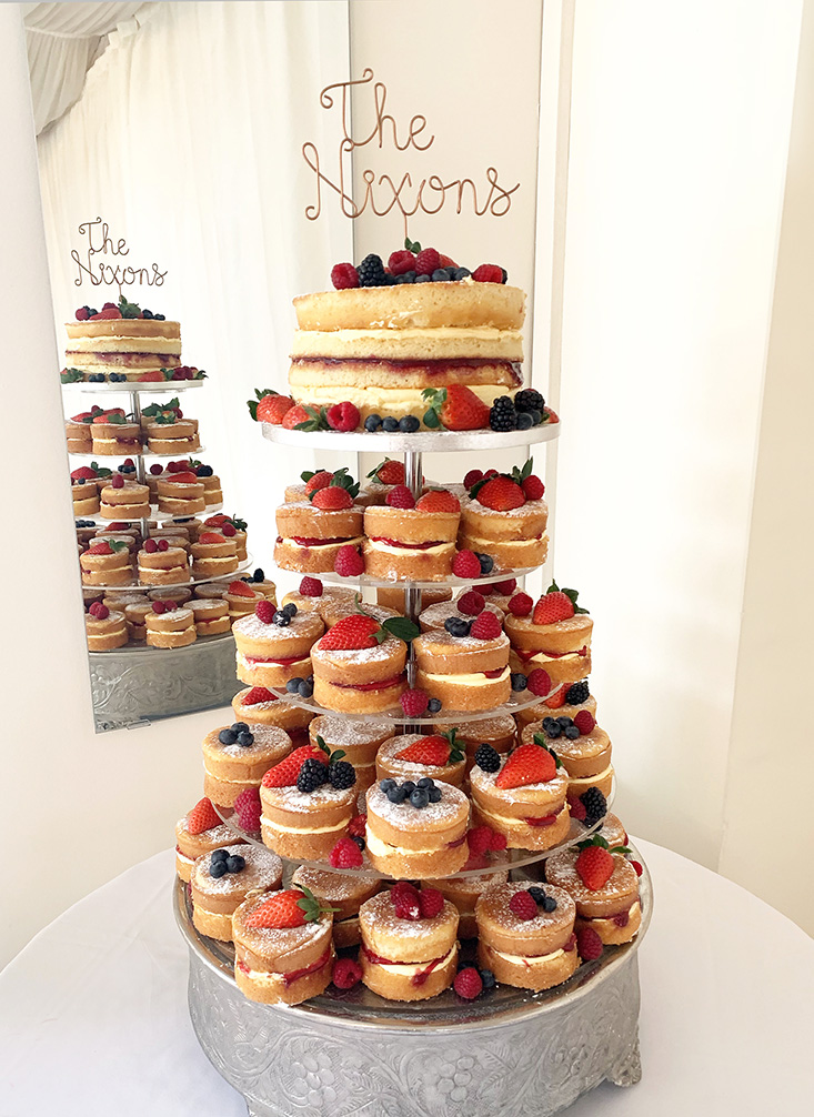Naked Wedding Cake with Tower of Mini Naked Cakes