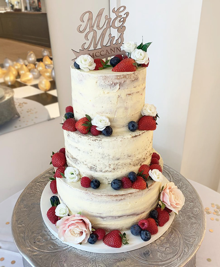 Naked Wedding Cake with Wooden Cake Topper