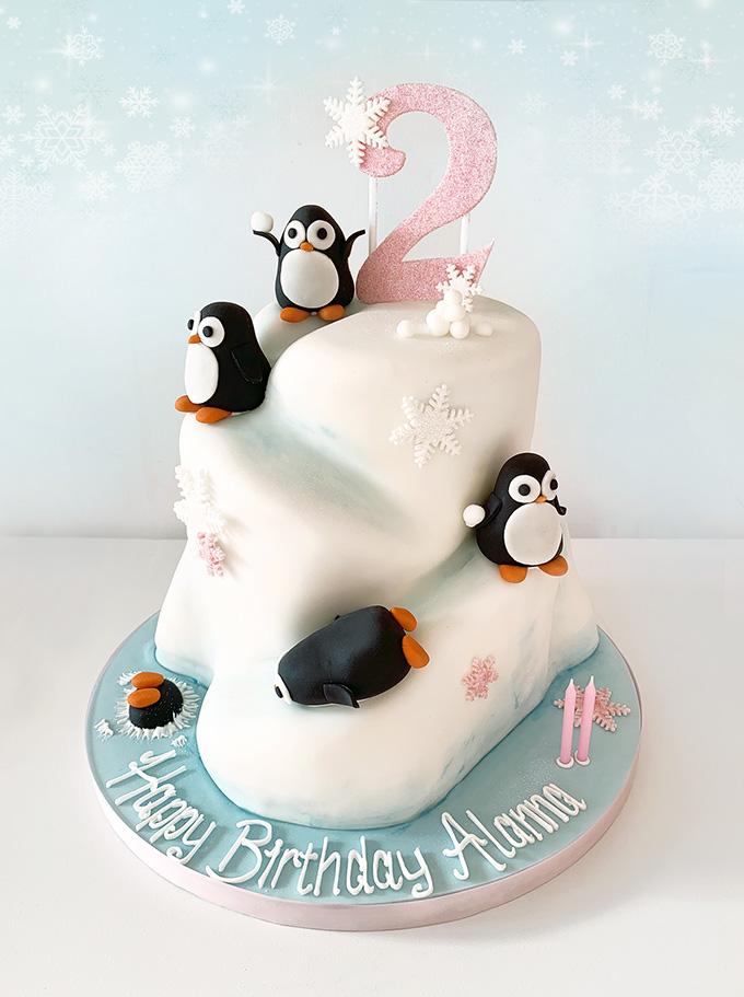 Astounding Penguin Iceberg Birthday Cake The Cakery Leamington Spa Funny Birthday Cards Online Aeocydamsfinfo