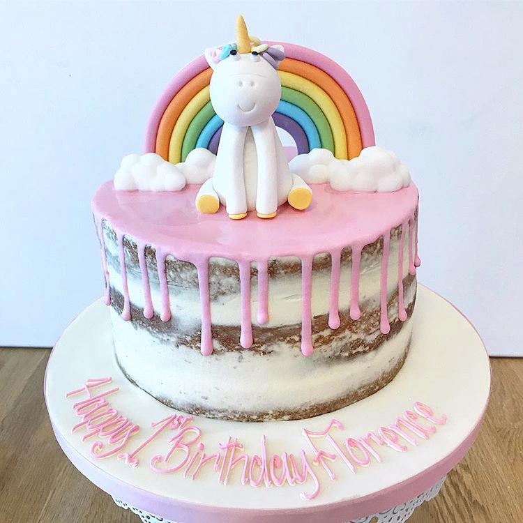 Rainbow Unicorn Naked Drippy Birthday Cake