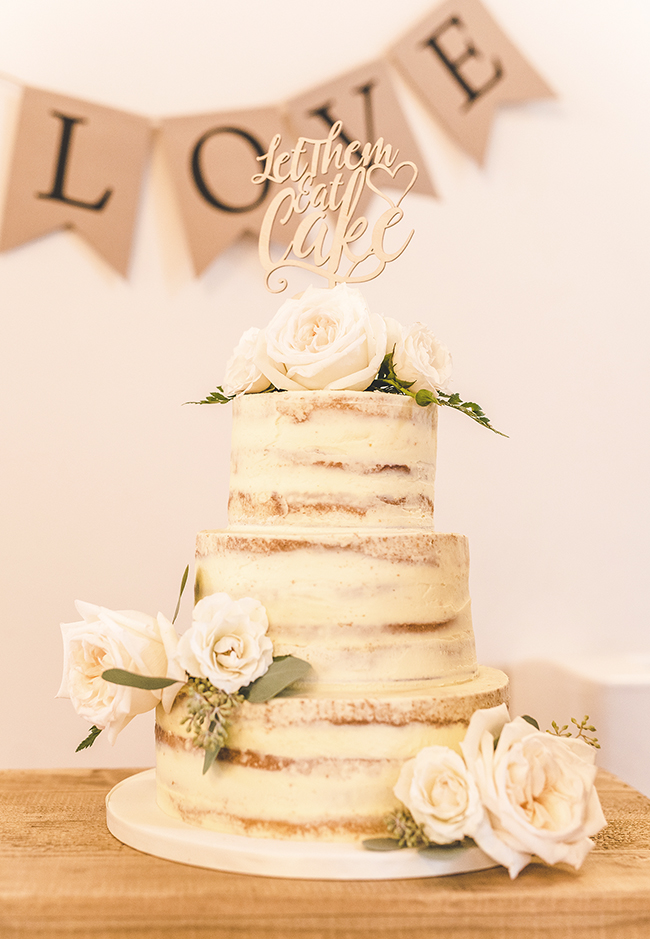 Rustic Wedding Cake with Wooden Cake Topper