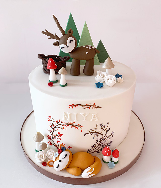 Winter Woodland Animals Cake