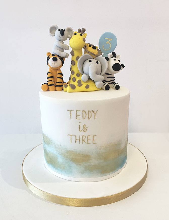 Zoo Animals 3rd Birthday Cake