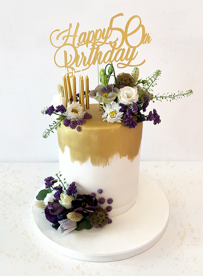 Gold Ombre 50th Birthday Cake